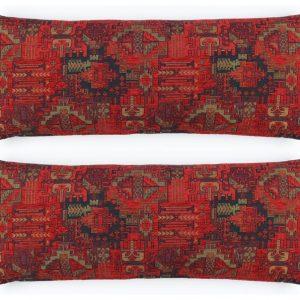 Set of 2 Kilim Pattern Woven Fabric Pillow Cover F02 turkish moroccan persian tribal bohemian square lumbar kilim rug pattern pillow cover