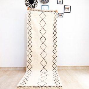 Beni Ourain rug 10 X 2.9 White Morrocan Rug Moroccan Rug Beni Ourain Beni Runner Moroccan Rug Shag Rug Art Deco Rug Berber