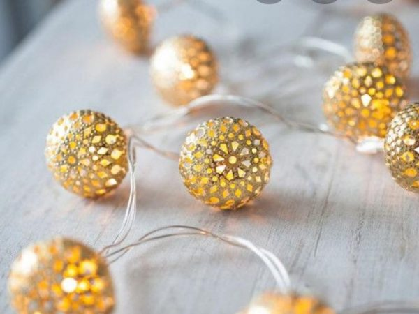 Moroccan style plug-in lights (20 metal balls) for projects/decor, in warm white, approx 10 feet including power cord (plug-in 110v)
