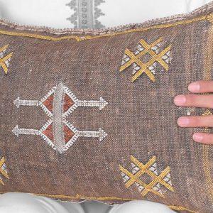 "Bark Brown Cactus Silk 13""x21"" Lumbar Throw, Moroccan Pillow Sabra Cushion Cover, Optional Inner Pillow, Hand Woven by Berber Women A4"