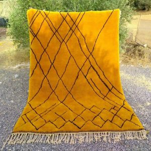 Beni ourain rug, Berber rug, Azilal Moroccan rug, Beni ourain Teppich, orange black diamonds, Free Shipping