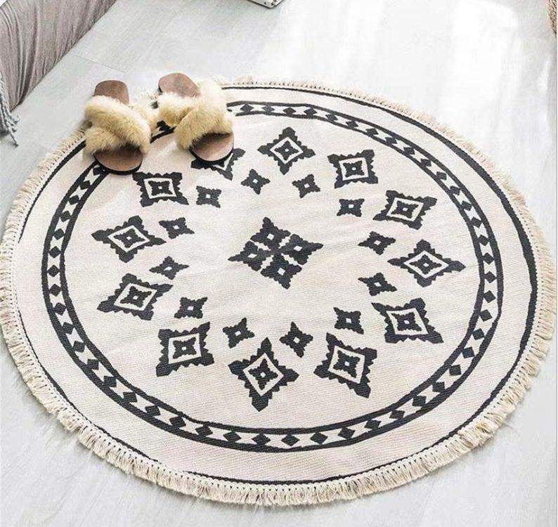 Cotton Roud Rug,Cotton Rug,Moroccan Kilim Rug,Blush Boho Style Rug,Tribal Floor Rug,Area Mat,Moroccan Carpet
