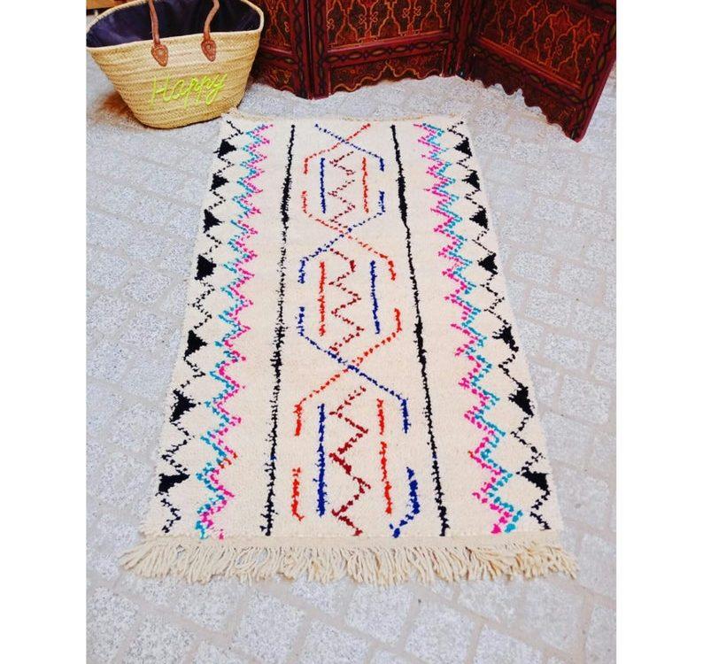 Beni ourain rug 130 cm/75 cm Moroccan Beni ourain rug Berber handmade wool Authentic Azilal, soft wool rug .area rug