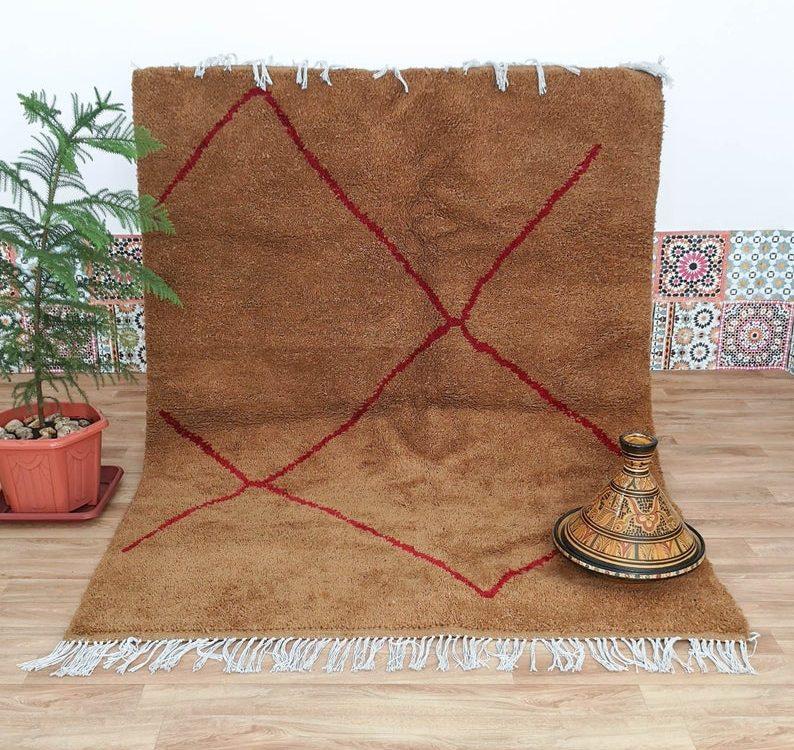 Brown Azilal Rug, Moroccan Tribal Carpet, Berber Shag Carpet, Beni Ourain Rug