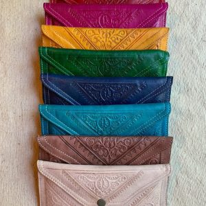 Large Moroccan Stamped Leather Clutch Wallet