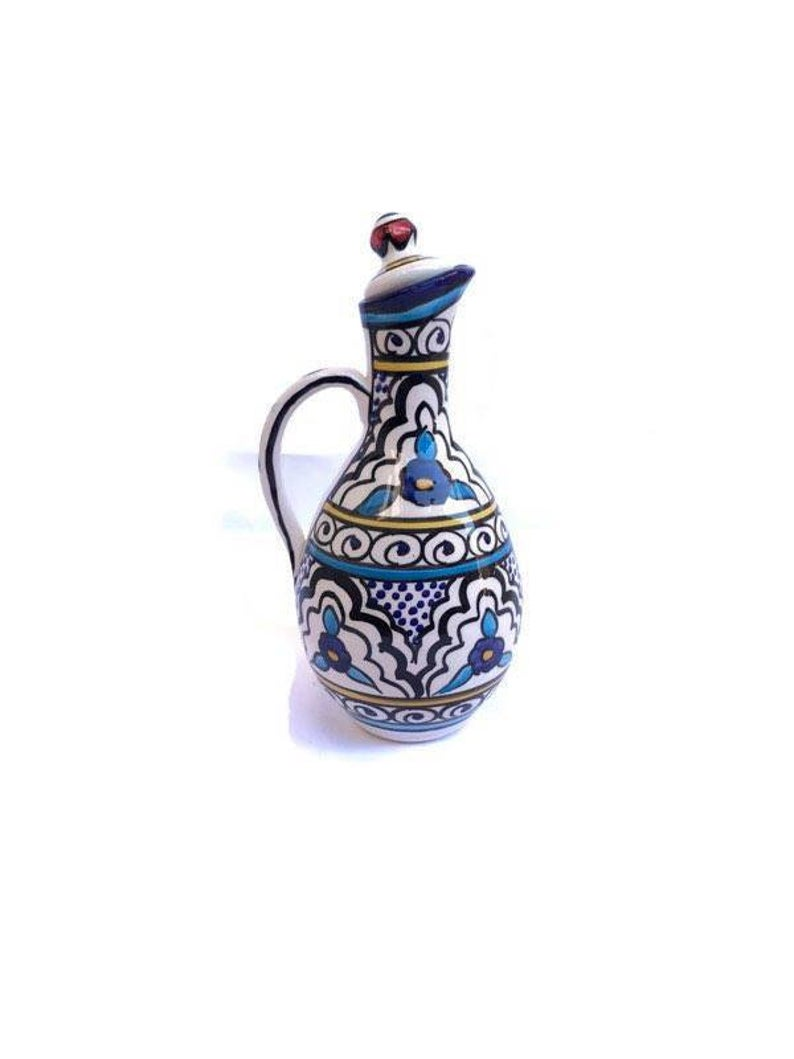 1 Hand-made Original Moroccan Palestinian Colorful Glass Jug for New Home Decor Kitchenware.Palestinian Floral Hand painted Ceramic Pitcher