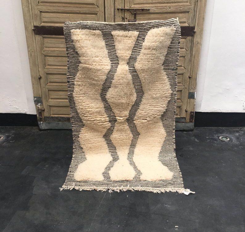 Moroccan Beni ourain rug, 100% wool Berber, Moroccan carpet, small Berber carpet