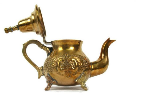 Vintage Moroccan Brass Teapot With Legs, Moroccan Brass Embossed Tea Pot