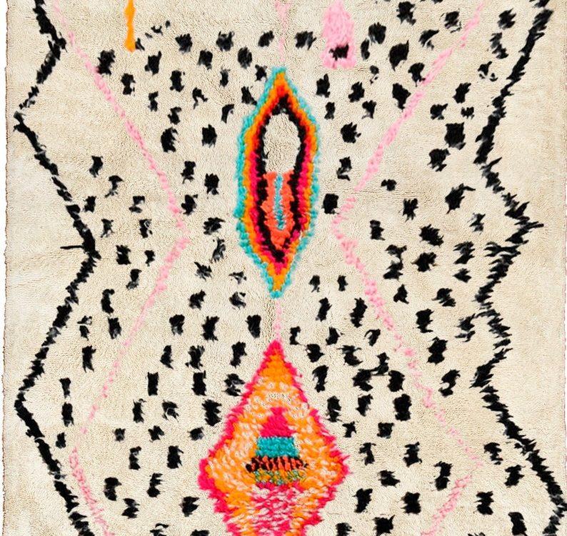 Moroccan rug white Beni ourain rug - Modern Moroccan Rug custom