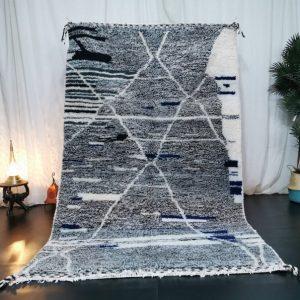 Beniourain Abstract Moroccan Rug - Tribal Area Rug - Woven Rug - Beni Ourain Rug - Wool Area Rug - Living Room Decor - White Carpet.