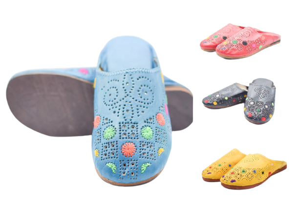 Women leather slipper home, Ethnic Moroccan flat shoe, Comfy sheepskin slide, Casual floral mule, Perforated holes Loafer