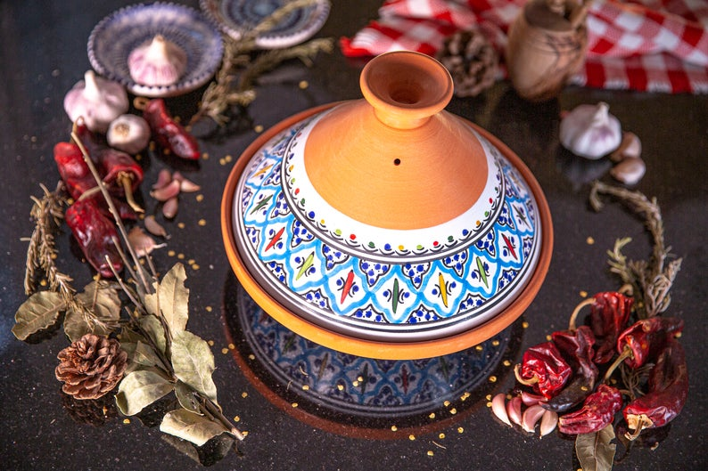 Medium Turquoise Handmade, Hand-painted Ceramic Tagine, Kamsah Cooking Pot, Easter, Mother's Day, Thanksgiving, Christmas gifts