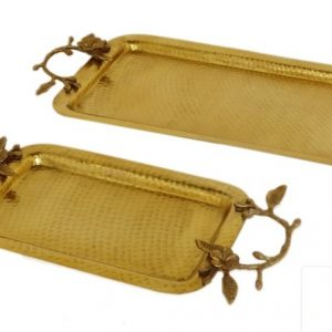 Rectangular Brass Serving Tray with Flower Handle in Antique & Hammered Design