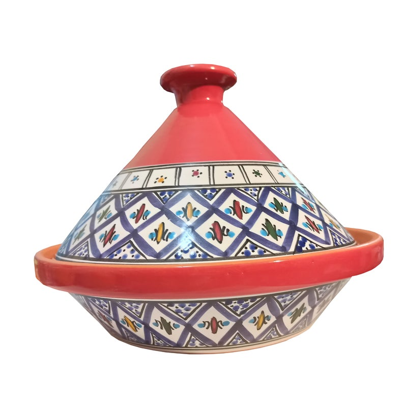 Tagine Hand Made,Painted Ceramic by Artist Naman made for MAGO OF CARTHAGE traditional Design of the Mediterranean island Djerba.