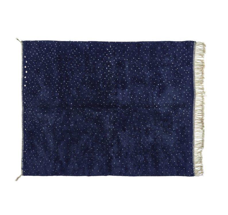 Custom Beni Ourain Rug, Shaggy Navy Blue Wool & White Dots Rug, Beni ourain carpet, Mid-Century Rug, Midcentury Decor, Mid-century Furniture