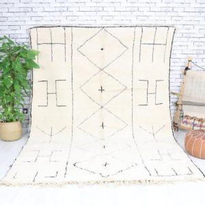 Beni ourain rug- Authentic Moroccan Rug- Custom Beni Ourain rug- Beni Rug- Large Moroccan Rug- White& Black Rug- Custom rug