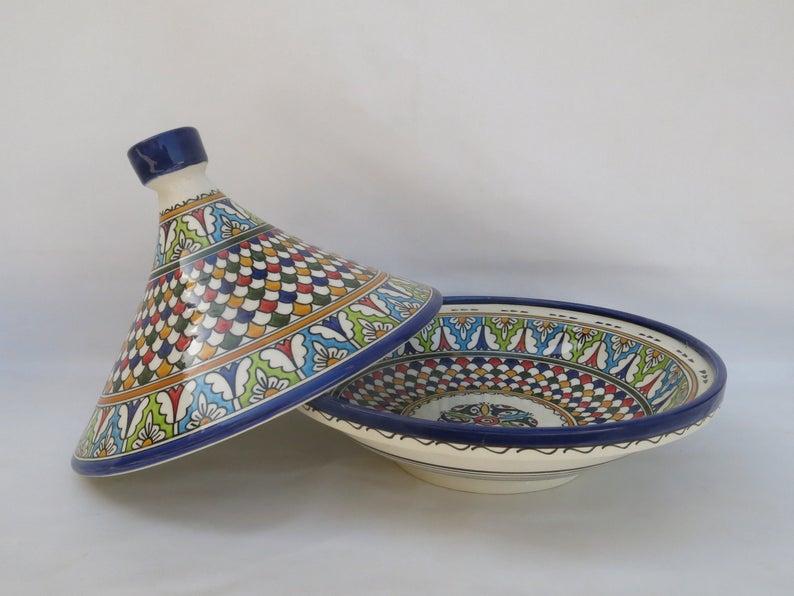 Large Moroccan ceramic tagine/ hand-painted tagine/decorative tagine/kitchenware/serving tagine/moroccan large tagine