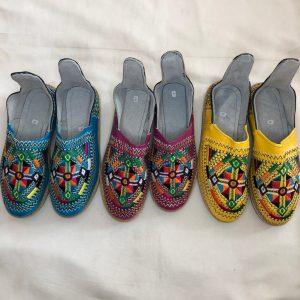 Genuine Moroccan leather slippers multi colour