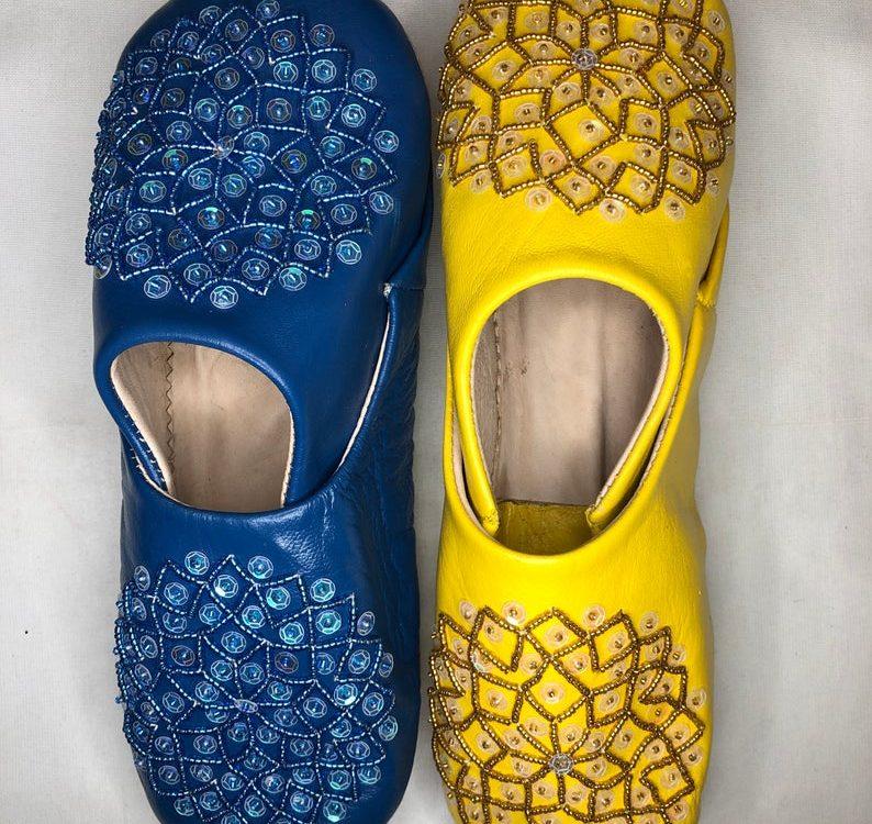 Handmade genuine Moroccan leather slippers