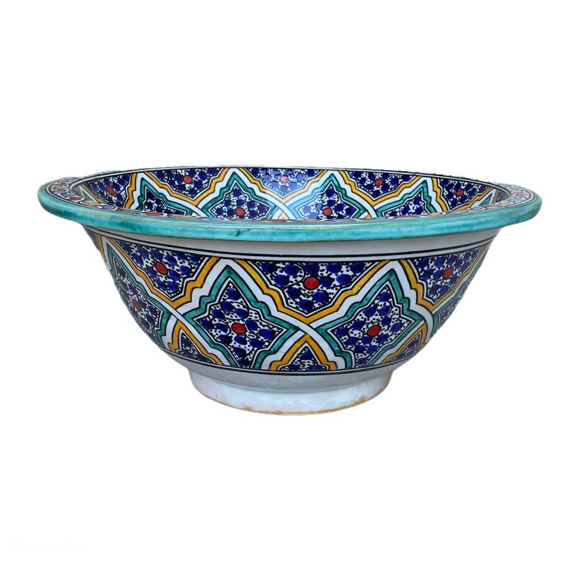 Sink. Handmade and hand-painted Moroccan ceramic sink. Moroccan washbasin handmade.