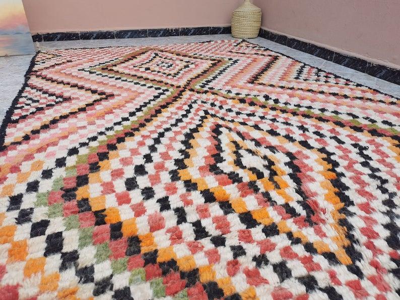 9.5X5.48 ft Vintage berber Boujad Rug - Area Rug -Moroccan rug - Vintage Rug - Berber Carpet- Oriental Carpet -Tribal Rug