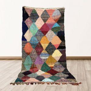 4x8 Boucherouite rug, Kilim area rug, Woven kilim rug, Vintage moroccan rug