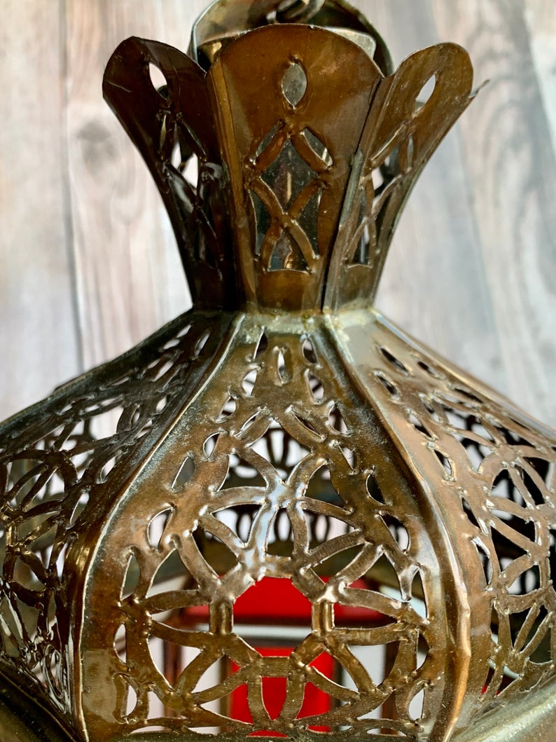 Moroccan Aged Metal/Stained Glass Pendant Light/