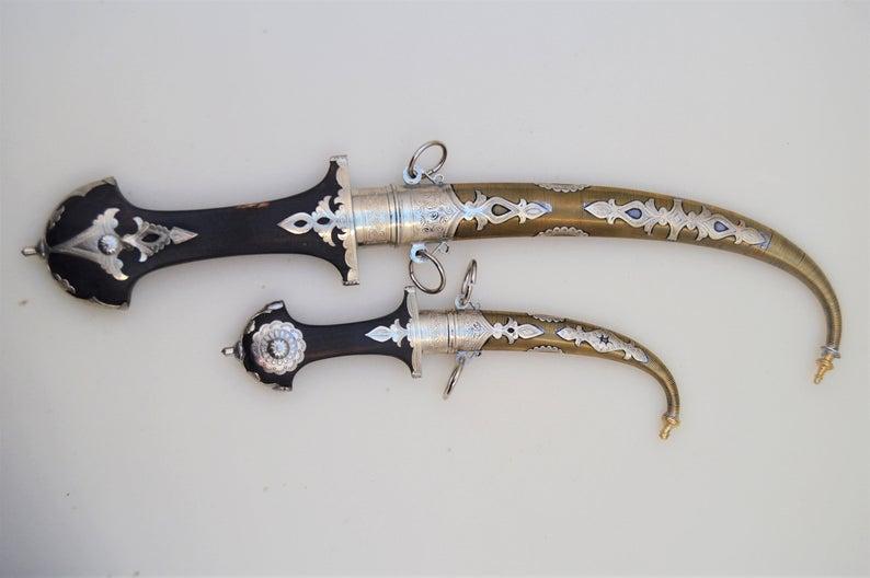 Set of 2 Moroccan Daggers knife Handmade Blade, Decorative Dagger, Handmade Dagger Decor, Handcrafted Decor