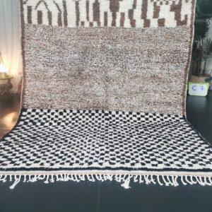 Azilal Abstract Moroccan Rug - Tribal Area Rug - Woven Rug - Beni Ourain Rug - Wool Area Rug - Living Room Decor - White, Brown&Black Carpet