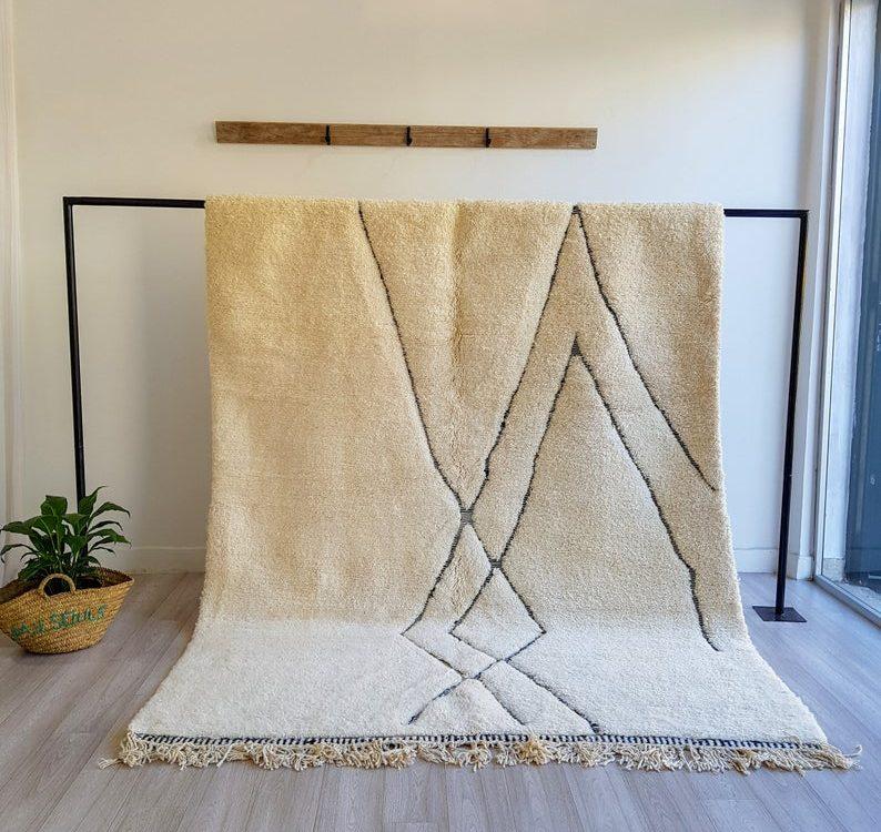Moroccan rug, handmade carpet, Authentic beni ourain rug, Azilal rug, Berber area rug, tapis marocain, wool rug, large area rug