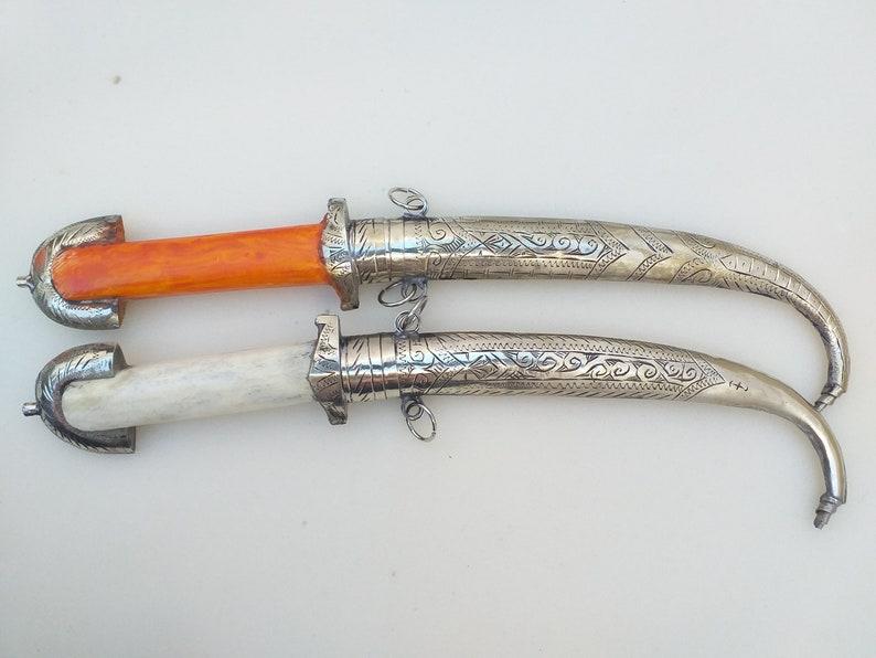 Set of 2 Khanjar, Dagger knife Islamic Sword Arabic Jambiya Handmade Blade, Decorative Dagger, Handmade Dagger Sheath Gift Handle