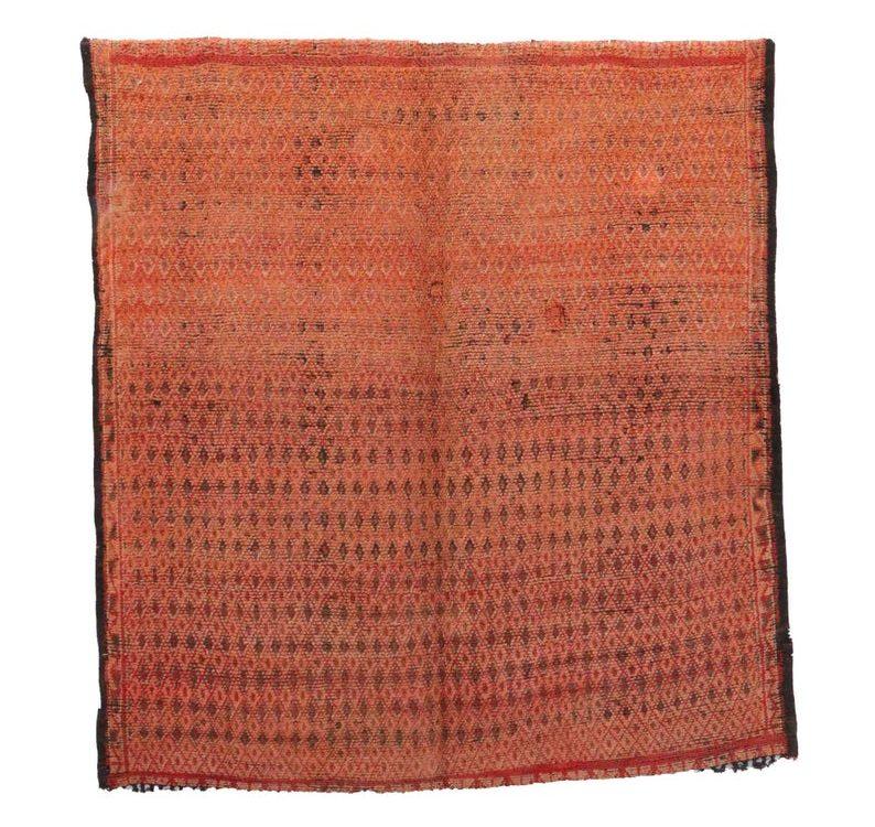 7x7 feet Vintage Beni Mguild Rugs Orange Red Beige Mid-Century Modern Geometric Medium moroccan handwoven rug Wool