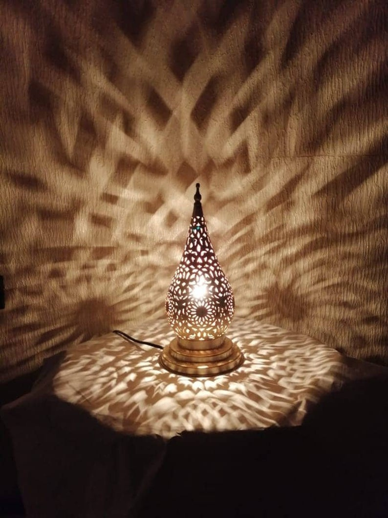 Moroccan night light – table lamp – handmade decoration in silver brass – pure craftsmanship from fez - floor lamp