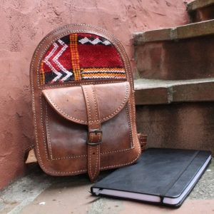 Genuine Moroccan Leather Backpack with Woven Kilim. Sz small.