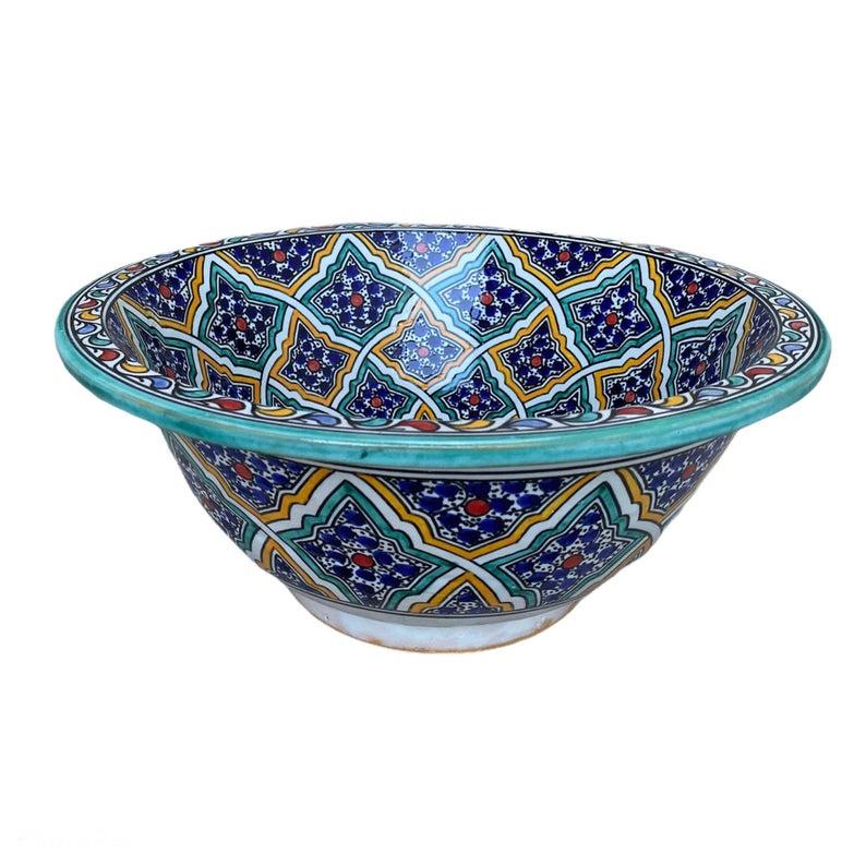 Sink. Handmade and hand-painted Moroccan ceramic sink. Moroccan washbasin handmade.`