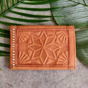 Vintage Moroccan handcrafted leaf holder handmade in natural authentic leather