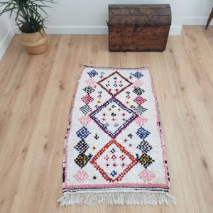 Moroccan Boucherouite Rug 2x4 ft, Handmade Berber Runner, Authentic Handwoven Moroccan Runner, Tribal Bohemian Runner Rug - 128x76cm