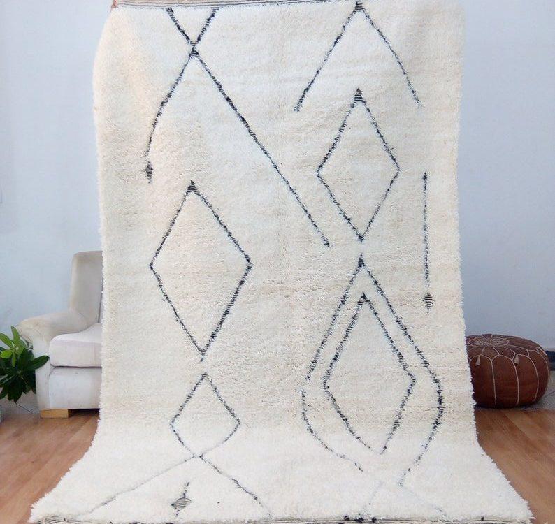 Beni Ourain Rug , Full wool rug ,Moroccan Rug ,Berber Carpet , Handmade rug , Hand woven Morocco Carpet - beni ouarain rug, rug from morocco