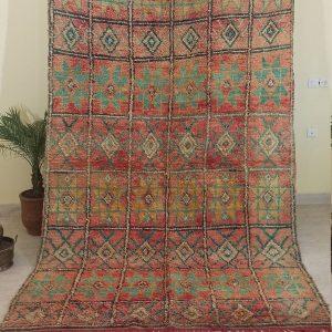 Boujad Rug Vintage Moroccan - Area Rug 4x8 Antique Morocco Carpet - Berber Rug - Boho Rug - Handmade North African Rug