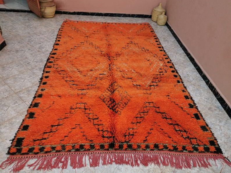 Orange Vintage berber Moroccan rug Beni Mguild   Beni Mguild Moroccan Carpets   Vintage Beni Mguild Moroccan Rug