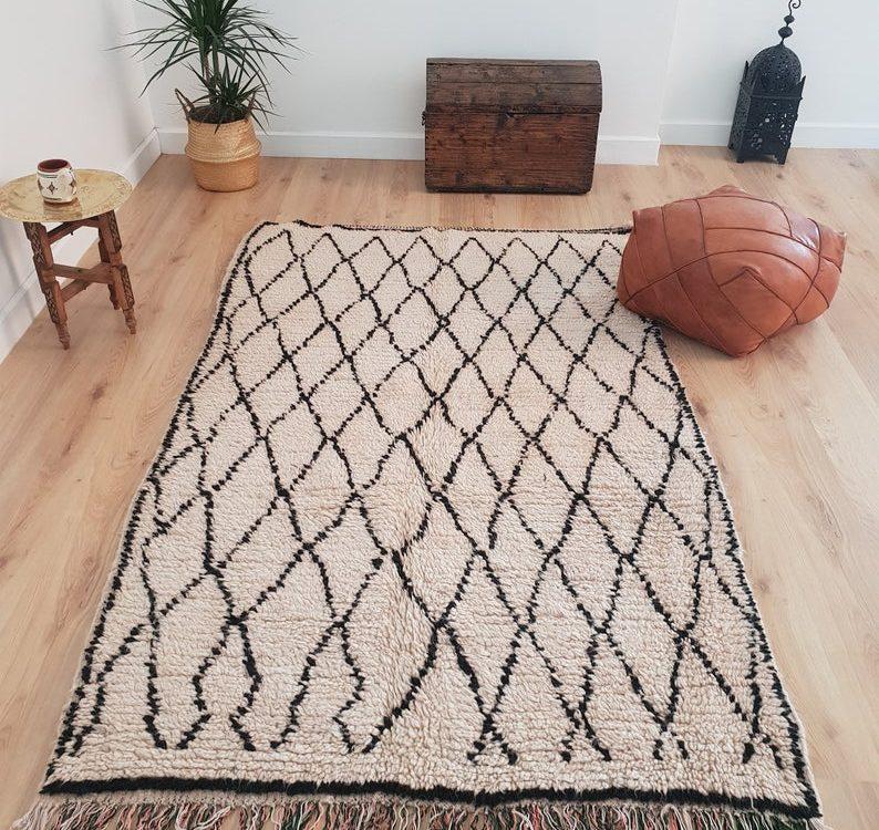 Moroccan Beni Ourain Rug 4x7 ft, Authentic Handmade Berber Rug, Handwoven Moroccan Wool Rug, Tribal Bohemian Area Rug