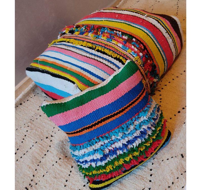 Fabulous Vintage Moroccan pouf, Kilim pillow, Moroccan cushion, Moroccan pillows, Moroccan pillows covers, Moroccan rug poufs