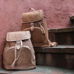 Vintage Brown Moroccan Leather Backpack with Woven Kilim.