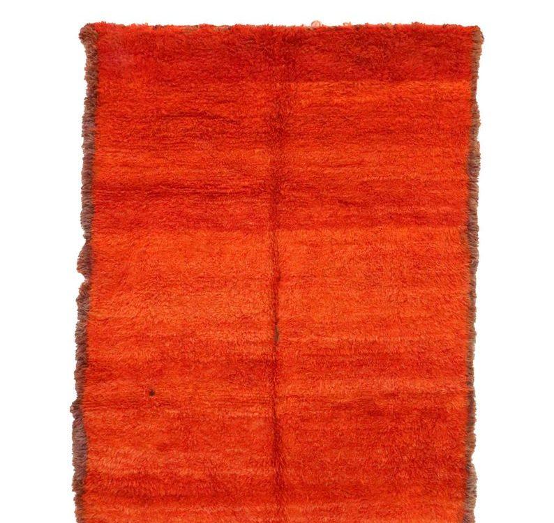 6x8 feet Vintage Beni Mguild Rugs Orange Gray Mid-Century Modern Solid Medium orange and yellow carpet Wool