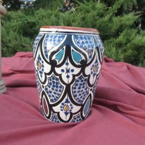 MOROCCAN VASE by SAFI,Hand painted Pottery Vase,5 inch Folk Art Vase from Morocco, North Africa Folk Art Painted Vase,colorful Morocco Vase