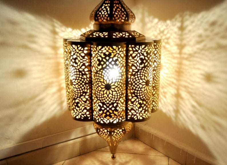 114 - Moroccan Copper Lamp | Copper Lamps | Brass Lamps | Made in Morocco | Lighting | Moroccan Lantern Hanging | Lamp Pendent | lampshades