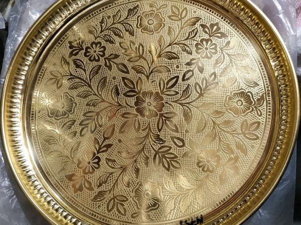 Pure Solid Brass Tray, Brass Serving Tray, Brass Decorative Tray, Large Ornate Brass Tray, Round Brass Ornate Display Tray, Christmas Gift