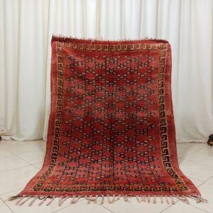 Moroccan Beni Mguild Rug-4.06 x 5.90 Feet-Vintage Moroccan Rug-Red Berber Rug-Handmade Rug-Berber Rugs-Wool Berber Marokko Rug-Tribal Carpet