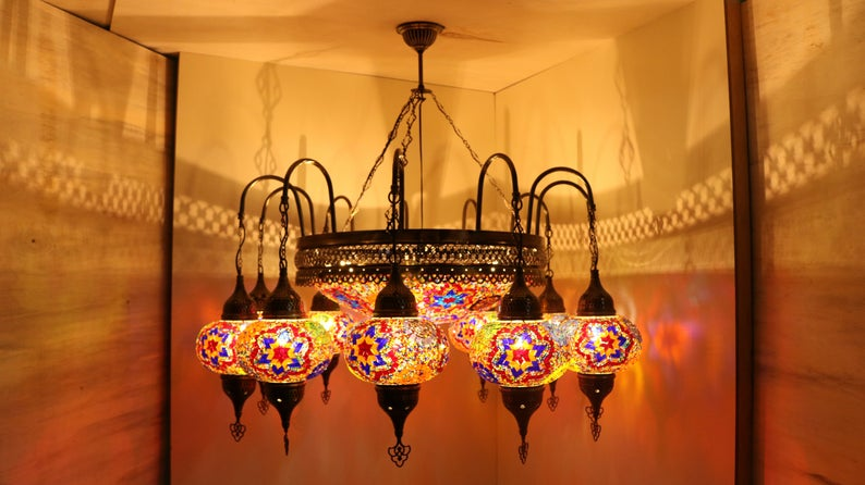 AMAZING Mosaic Chandelier Colored Turkish Lamp Unique Lanterns 11+1 Globe Ceiling Pendant Moroccan Decor Light Christmas Gift Free Shipping