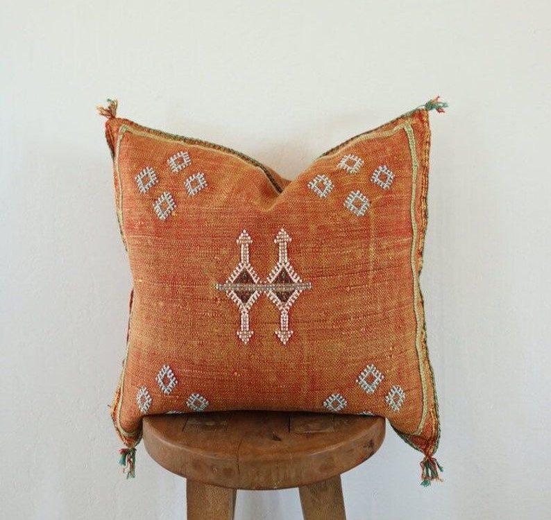 Orange Moroccan Sabra Pillow Handmade Home Decor Cactus Silk